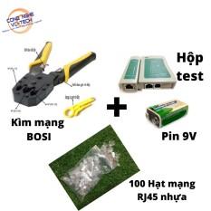Combo(Kìm Bấm Mạng BOSI+100 Hạt Mạng RJ45+Hộp Test Mạng Kèm Pin 9V)-Bộ dụng cụ thi công mạng TIỆN LỢI VÀ KINH TẾ. – Test mạng kèm pin 9V