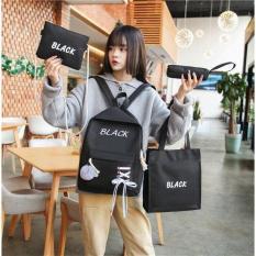 Set Balo nữ thời trang 4 món theo màu – Balo sinh viên học sinh thiết kế dây giày – Set Bbalo nữ tặng kèm quả bông