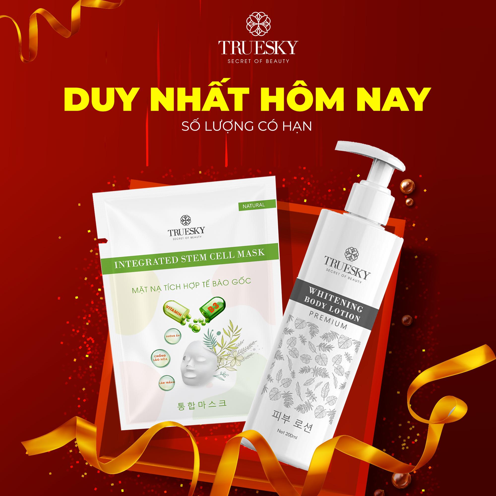 [MUA 1 TẶNG 1] Kem dưỡng trắng da toàn thân Truesky Premium dạng lotion thẩm thấu nhanh phiên bản cao cấp 200ml – Whitening Body Lotion