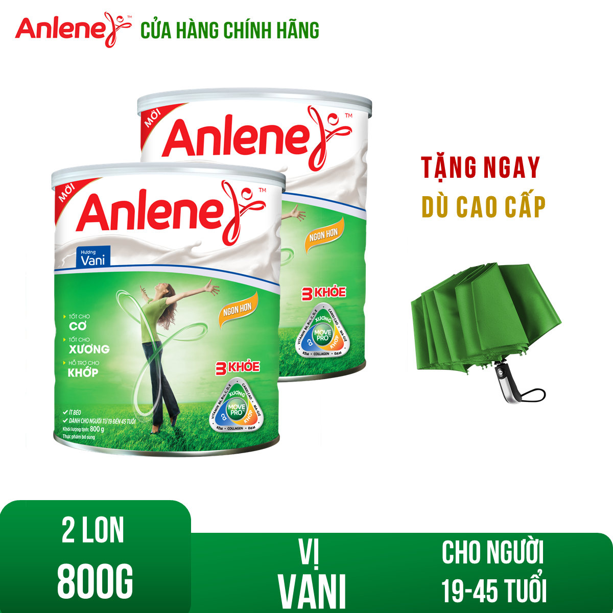 Bộ 2 Lon sữa bột Anlene Movepro Vanilla 800g Tặng 1 dù cao cấp