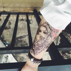 Hình xăm dán đẹp tatoo cô gái đầu lâu kích thước 15 x 21 cm