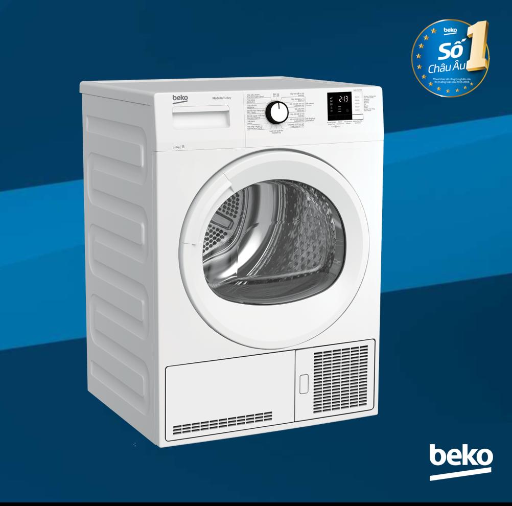 Máy sấy quần áo Beko ngưng tụ DU8133GA0W – 8kg – Nhập khẩu Châu Âu – Bảo hành chính hãng 2 năm