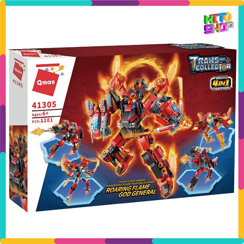 Bộ Đồ Chơi Xếp Hình Thông Minh Lego Qman 1201 Mảnh Ghép: Robot Red Soldier 41301-41305 Cho Trẻ Từ 6 Tuổi