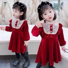 VÁY NHUNG REN ĐÍNH CÚC – VBG-Nhung-ren-váy diện tết bé gái