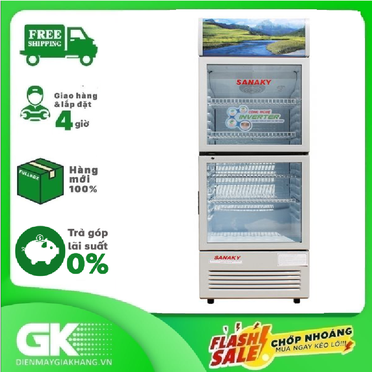 TRẢ GÓP 0% – Tủ mát Inverter Sanaky VH-408W3L 400 lít – Bảo hành 2 năm