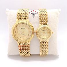 Cặp Đồng hồ đôi nam nữ HALEI dây kim loại thời thượng ( HL494 dây vàng mặt vàng ) – TẶNG 1 vòng tỳ hưu phong thuỷ