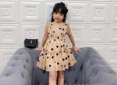 Đầm xòe bé gái họa tiết trái tim cho bé từ 1-10 Tuổi cực xinh