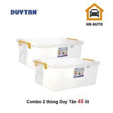 Combo 2 Thùng Nhựa Duy Tân Trong Suốt 45 Lít (63.4 x 42.7 x 23.9 cm) No.0997