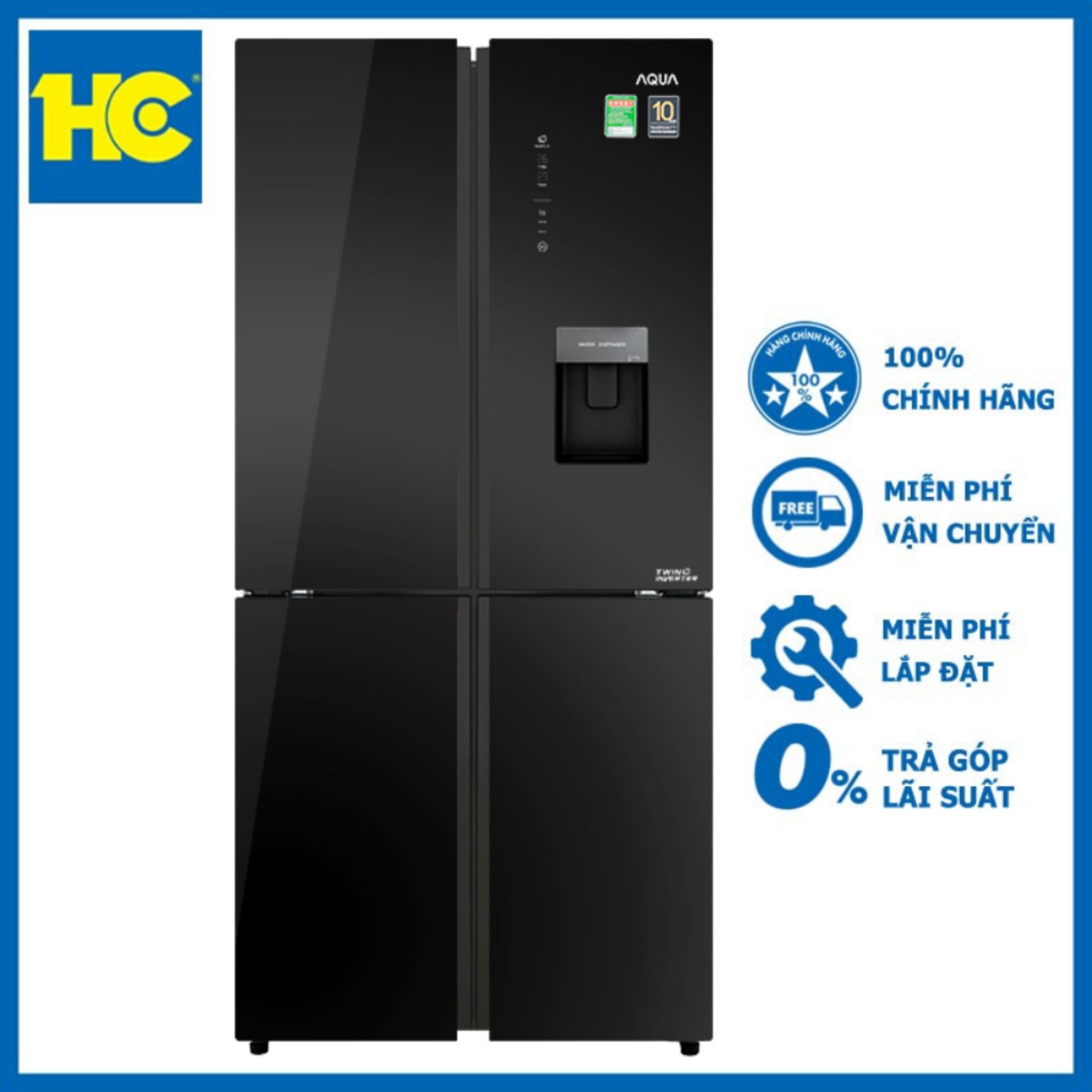 Tủ lạnh Aqua Inverter 456 lít AQR-IGW525EM(GB) ?en – Miễn phí vận chuyển & lắp đặt – Bảo hành chính hãng