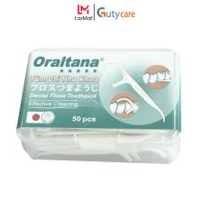 Tăm chỉ kẽ răng nha khoa y tế Oraltana 5 sao – Hộp 50 cây, vừa là chỉ nha khoa vừa dùng như tăm xỉa răng rất tiện lợi, sợi chỉ siêu dai, đầu tăm linh hoạt, sản xuất theo tiêu chuẩn quốc tế đạt chuẩn – Guty Care