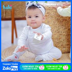 Bộ quần áo dài tay cho bé cài cúc vai + chất liệu Modal tự nhiên cao cấp siêu mềm mịn + set sơ sinh cho bé từ 0 – 3 tuổi vải sồi xuất khẩu Haki BM004 (2.5-15kg), đồ bộ cho bé trai bé gái, baby cloth, quần áo dài cho bé