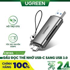 Đầu đọc thẻ USB type C với 2 khe thẻ cắm SD và TF hỗ trợ chức năng OTG UGREEN CM184 CM185 – Hãng phân phối chính thức