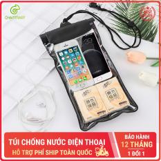 Túi đựng điện thoại chống nước D019 loại lớn bao chống nước điện thoại trong suốt có dây đeo và jack cắm dây tai nghe Chammart