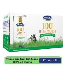 Thùng 12 hộp Sữa tươi tiệt trùng Vinamilk 100% Có đường 1L