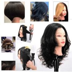 Đầu manocanh Tóc thật , tóc dài 60cm, màu đen, học làm tóc , Đầu canh chịu nhiệt tốt