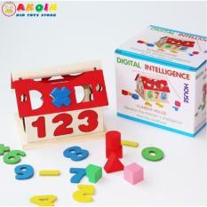 Đồ chơi ngôi nhà gỗ mini thả hình số cho bé học toán