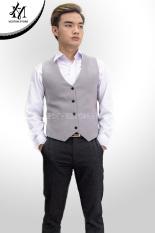 Áo gile nam ôm body màu xám ghi tặng kèm nơ