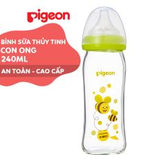 Bình sữa cổ rộng thuỷ tinh Plus 240ml Pigeon – Con Ong (M)