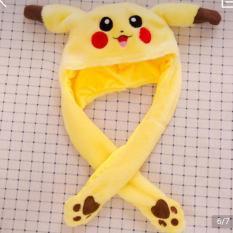 Nón tai thỏ giật nhẹ hai tay cử động theo ý muốn, Pikachu màu vàng