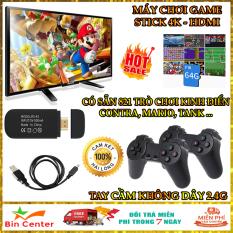 [SALE] Máy chơi game điện tử cầm tay, Máy chơi game 4 nút Game Stick 4K, Máy chơi game cầm tay tích hợp sẵn 821 trò, Tay cầm không dây 2.4G, Kết nối HDMI Tivi, hỗ trợ thẻ nhớ 64G, Máy chơi game mini – Bảo hành 12 tháng