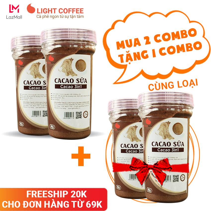 [MUA 4 HŨ TẶNG 2 HŨ] Combo 2 HŨ bột cacao sữa thơm ngon, Light Cacao , không hương liệu , không chất độn – 90g/hũ