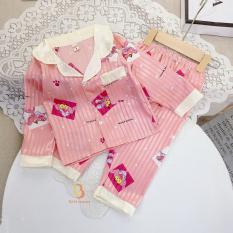 [ Babi mama ] Bộ Đồ Ngủ Pijama Lụa Gấm Set Quần Áo Mặc Nhà Dài Tay Cho Bé Size 10-24kg – BPN04
