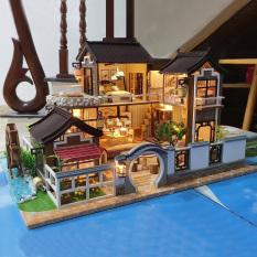 Mô hình nhà DIY Doll House Dream in Ancient Town Kèm Đèn LED và MICA chống bụi