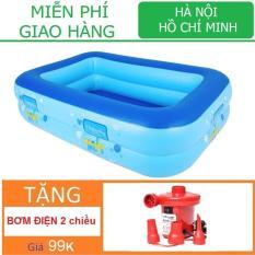 Bể bơi chữ nhật loại 2 đáy Tặng bơm điện (120 x 85 x Cao35cm) Nhà bóng Phao bơi KamiToy vận chuyển