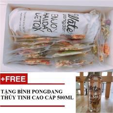Hộp 30 gói trà Detox hoa quả sấy khô giảm cân, DETOX KOREA Full VIP (ảnh thật) – Tặng bình Pongdang thuỷ tinh 500 ml + đường