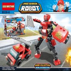 Xe cứu hỏa đồ chơi, đồ chơi le.go, đồ chơi xếp hình, đồ chơi lắp ráp, chất liệu nhựa ABS cao cấp, bền, đẹp an toàn Đồ chơi lắp ráp Robot đồ chơi trẻ em cho bé trai bê tia chớp 3in1 8bộ Lelebrother 8539