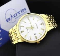 Giảm giá Đồng hồ nam dây thép mạ Vàng BAISHUNS 4586 (Trắng)