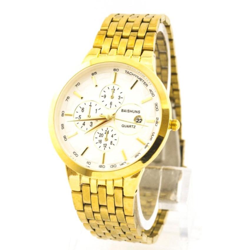 Chỗ bán Đồng hồ nam dây thép không gỉ Baishuns BS122 (Mặt Trắng) + Tặng kèm vòng tay tỳ hưu phong thủy