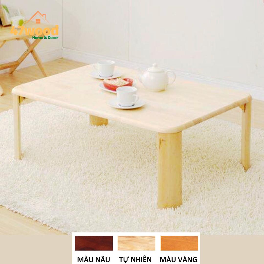 Bàn ăn kiểu nhật chân xếp 60x90cm, gỗ cao su tự nhiên – bàn gỗ đa năng 60x90cm chân gấp gọn