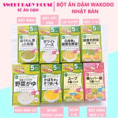 Bột ăn dặm Wakodo cho bé 5 tháng vị bí đỏ khoai lang Nhật Bản. Date 11/2021 – Sweet Baby House
