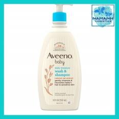 Sữa tắm gội cho bé da nhạy cảm Aveeno Baby Daily Moisture Gentle Bath Wash & Shampoo 532ml