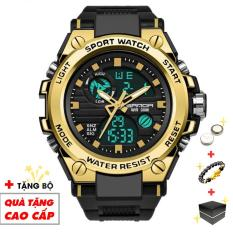 Đồng hồ nam điện tử thể thao SANDA SA01 đỉnh cao thiết kế chống nước siêu bền (Đen Viền Vàng) – Arman Store