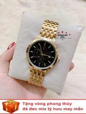 Đồng hồ nam BAISHUNS dây thép thời thượng có lịch ( BS3902 dây vàng mặt đen ) – TẶNG 1 vòng tỳ hưu phong thuỷ