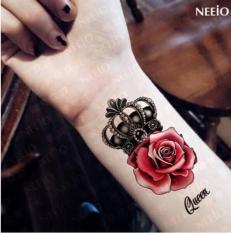 [ SIÊU GIẢM GIÁ TATTOO NỮ BẮP TAY CÁ TÍNH 15 x 21 CM ] Hình xăm dán tatoo vương miện hoa hồng – miếng dán hình xăm đẹp dành cho nữ