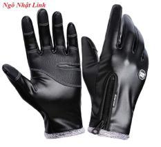 Găng tay da nam mùa đông ấm áp, tiện dụng, cảm ứng màn hình điện thoại