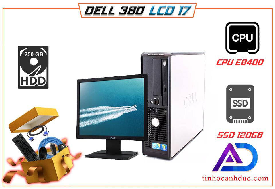 Bộ máy tính đồng bộ DELL 380 RAM 4G SS120G kèm Màn hình LCD 17 tặng phím chuột lót cáp NEW học tập xem phim nghe nhạc đọc báo tốt
