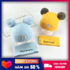 Mũ cho bé – Mũ len 2 quả bông kèm khăn love me more- Mũ len kèm khăn ống siêu xinh cho bé