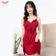 Váy đầm ngủ sexy 2 dây phối ren xếp ly ngực Hàng Thiết Kế thương hiệu Vingo N235 VNGO