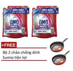 Combo 2 túi nước giặt Omo matic bền đẹp 2.4kg tặng bộ 2 chảo Sumio tiện lợi