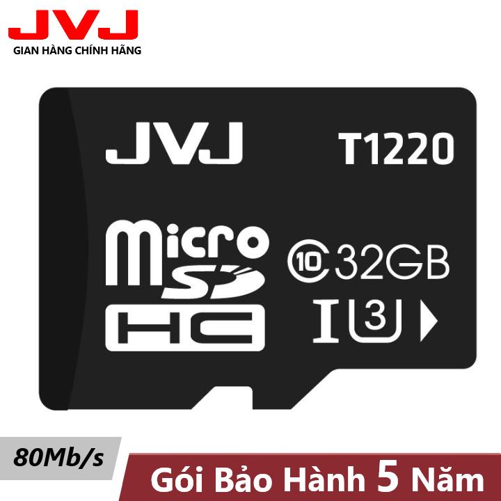 Thẻ nhớ 32Gb JVJU3 Class 10 tốc độ cao – chuyên dụng camera wifi,camera hành trình, điện thoại, máy chơi game thẻ nhớ 32G, siêu bền, BH 5 năm 1 đổi 1, Samsung, Oppo, Xiaomi, điện thoại android