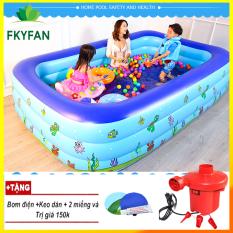 (TẶNG BƠM ĐIỆN + KEO MIẾNG VÁ 2M1 ) Bể bơi phao đại dương trẻ em 3 tầng ( 210 X 150 X 60 cm ) giá rẻ có họa tiết ngỗ nghĩnh đáng yêu b, Hồ bơi dành cho trẻ em người lớn