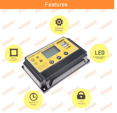 Bộ sạc năng lượng mặt trời PWM 10A có màng hình và USB