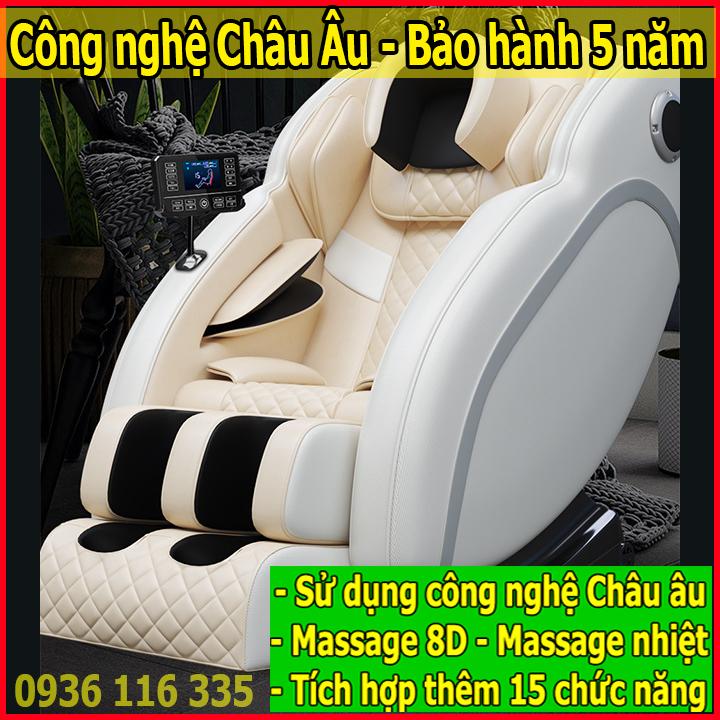 Ghế massage toàn thân công nghệ châu âu, ghế massge toàn thân sử dụng màn hình cảm ứng, ghe massage toan than bảo hành 5 năm, ghế mát xa sử dụng công nghệ nhiệt giúp bạn trị liệu hoàn hảo