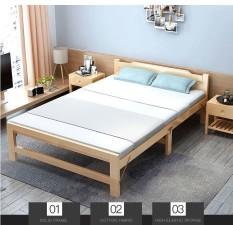 Giường xếp gỗ thông 60×195 tặng đệm gối, có thế gấp khúc
