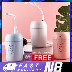 【New Be】Máy phun sương, máy xông tinh dầu lọc không khí ô tô 3in1 (Máy tạo độ ẩm/Quạt USB / Đèn USB / Cáp sạc / tăm bông)