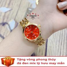 Đồng hồ nữ HALEI 5010 dây lắc thời trang ( HL5010 Dây vàng mặt đỏ ) – TẶNG 1 vòng tỳ hưu phong thuỷ